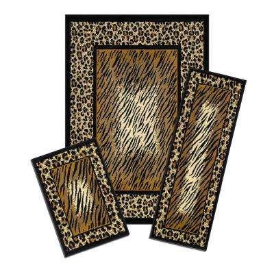 Capri Leopard Skin 5 ft. x 7 ft. 3-Piece Rug Set