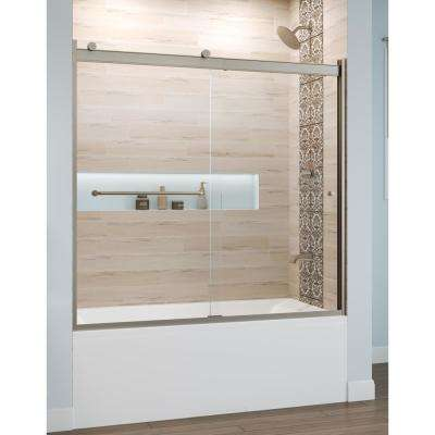 Rotolo 60 in. x 57 in. Semi-Frameless Sliding Tub Door in Brushed Nickel with Handle