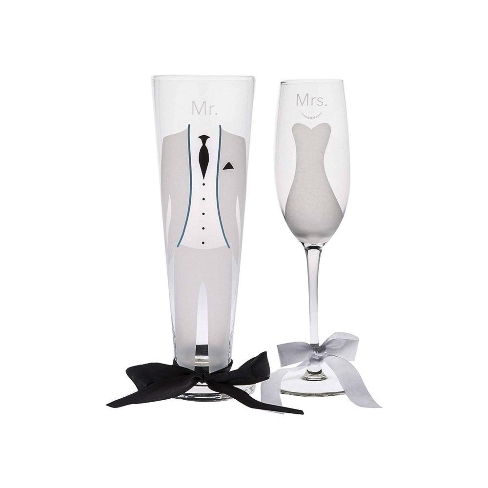 7 fl. oz. Bride Flute and 12 fl. oz. Groom Pilsner Glasses (2-Pack)