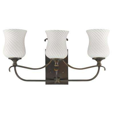 Evelyn 3-Light Oil-Rubbed Bronze Vanity Light with Optic-Art Glass Shades