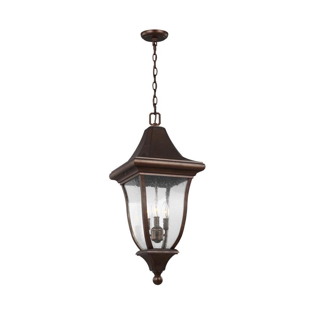 Oakmont 3-Light Patina Bronze Outdoor Hanging Pendant Lantern