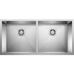 PRECISION R0 Undermount Stainless Steel 37 in. 50/50 Double Bowl Kitchen Sink
