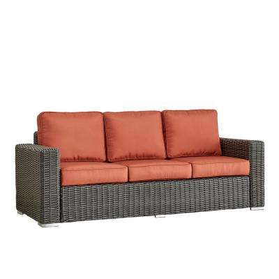 Camari Charcoal Square Arm Wicker Outdoor Sofa with Red Cushion