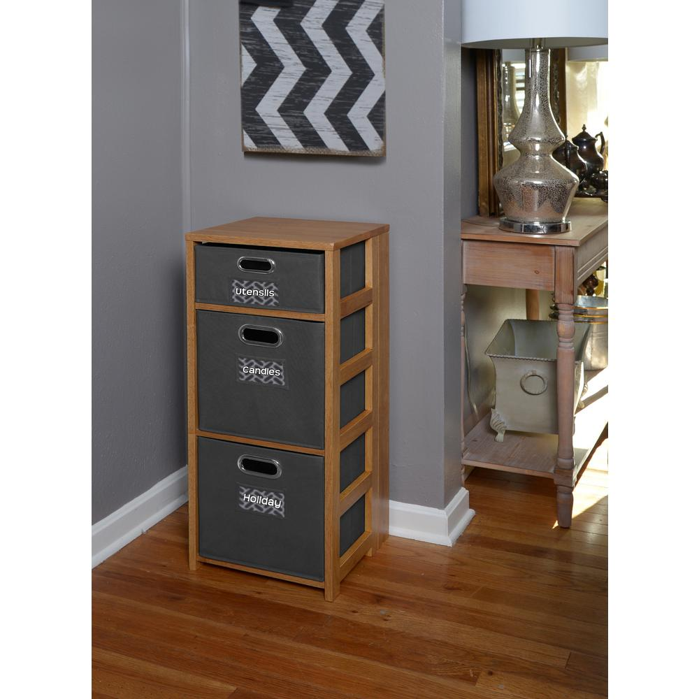 Flip Flop Medium Oak and Grey 3-Shelf Folding Bookcase and Storage