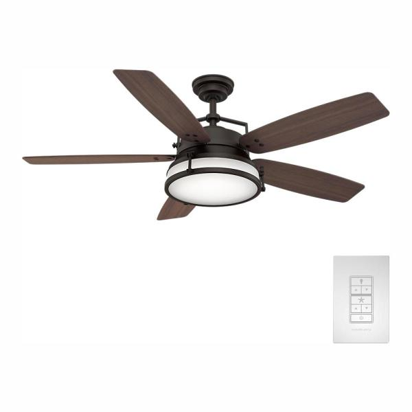 Caneel Bay 56 in. LED Indoor/Outdoor Maiden Bronze Ceiling Fan with Light Kit and Wall Control