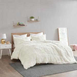 Leena 3-Piece Ivory Textured Shaggy Faux Fur Polyester Full/Queen Comforter Set