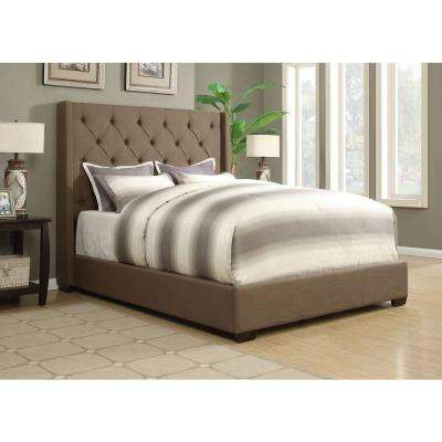Shelter Taupe Queen Upholstered Bed