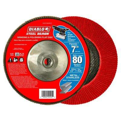 7 in. 80-Grit Steel Demon Grinding and Polishing Max-Flap Wheel with 5/8 in.-11 HUB and Type 29 Conical Design