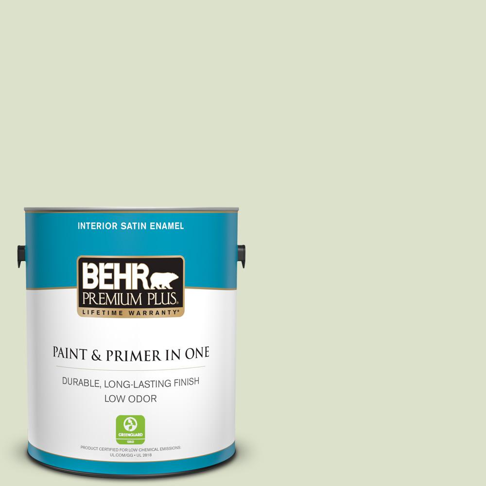 Behr Premium Plus 1 Gal 420e 2 Palm Breeze Satin Enamel Low Odor Interior Paint And Primer In One 705001 The Home Depot