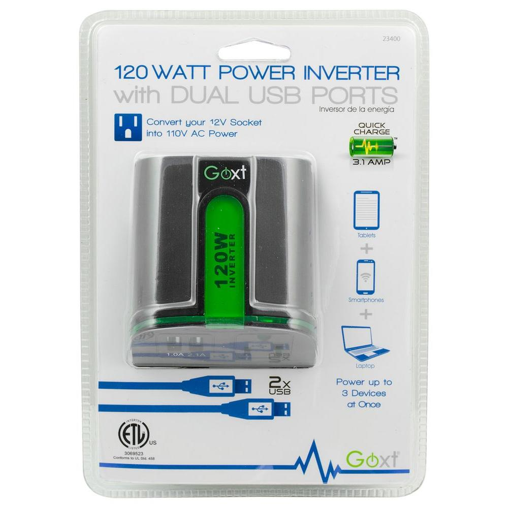 120-Watt Power Inverter with Dual USB Ports