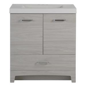 Glacier Bay Stancliff 30.5 inch W x 18.75 inch D Vanity in Elm Sky with Cultured Marble Vanity Top in White with White... by Glacier Bay