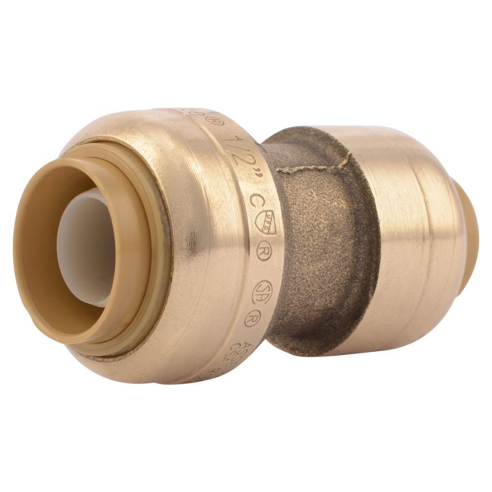 SharkBite 1/2 in. x 3/8 in. Brass Push-to-Connect Reducer Coupling