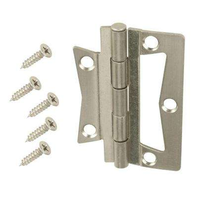 2-1/2 in. Satin Nickel Non-Mortise Hinges (2-Pack)