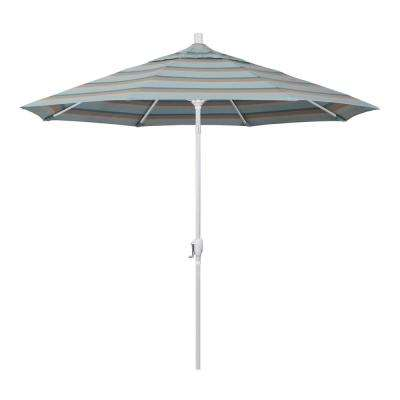 9 ft. Matted White Aluminum Push Button Tilt Crank Lift Market Patio Umbrella in Gateway Mist Sunbrella