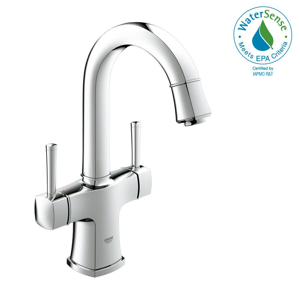 GROHE Grandera Single Hole 2-Handle 1.2 GPM Bathroom Faucet with ...
