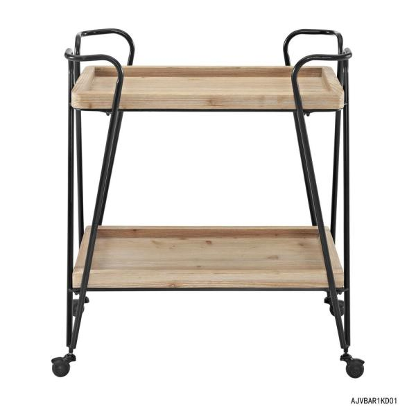 Linon Home Decor Mid-Century Wood and Black Matte Rectangular Bar Cart