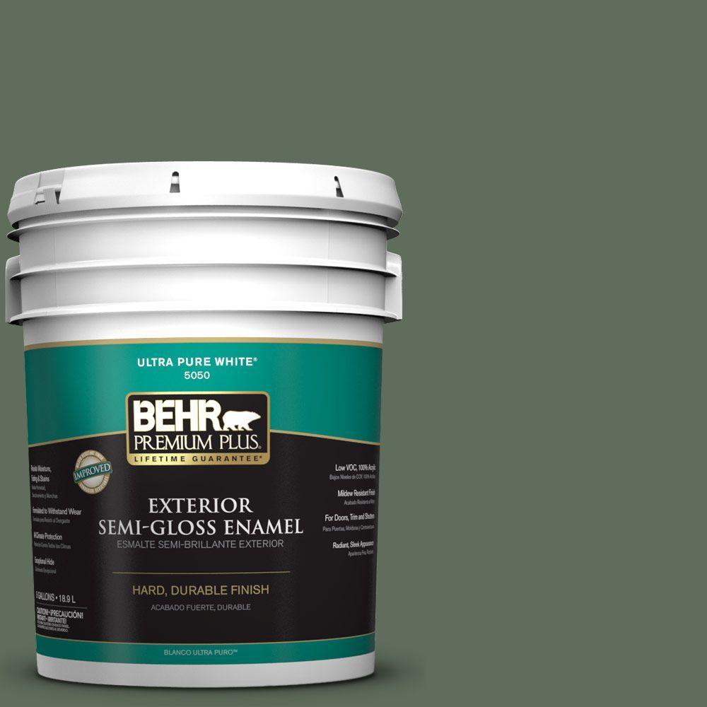 BEHR Premium Plus 5-gal. #N400-6 Terrarium Semi-Gloss Enamel Exterior Paint