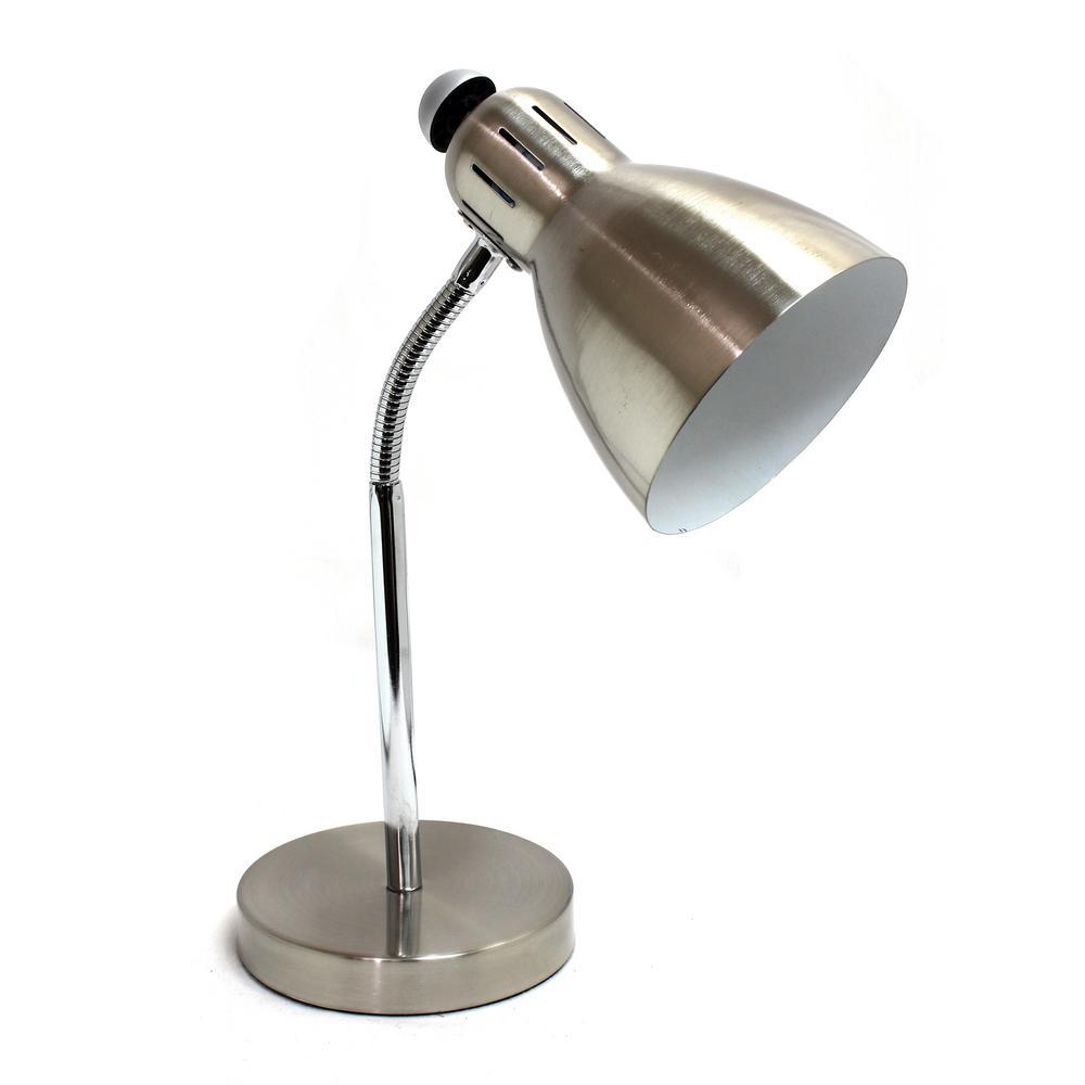 15.75 in. Semi-Flexible Brushed Nickel Desk Lamp