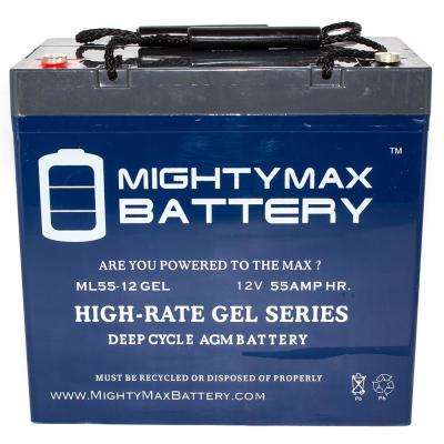 12-Volt 55 Ah Rechargeable GEL Sealed Lead Acid (SLA) Battery