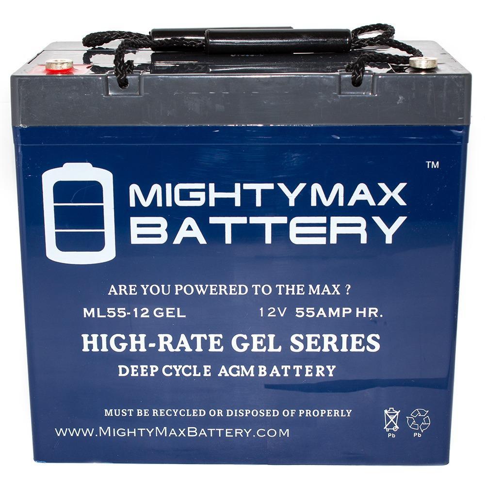 12-Volt 55 Ah Rechargeable GEL Sealed Lead Acid (SLA) Battery