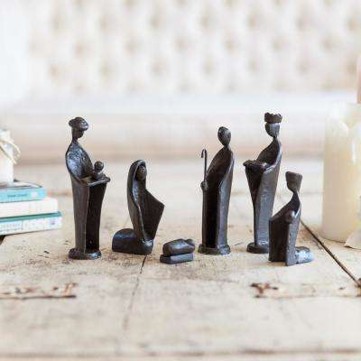 Nativity Set Cast Iron Sculptures, Family and Kings (Set of 7)