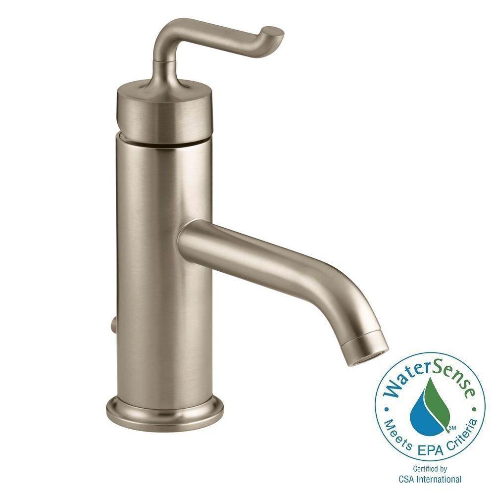 KOHLER Purist Single Hole Single Handle Low-Arc Bathroom Vessel Sink Faucet in Vibrant Brushed Bronze