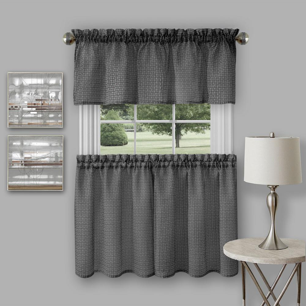 Achim Richmond Black Polyester Tier And Valance Curtain