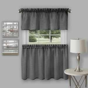 Achim Richmond Black Polyester Tier and Valance Curtain Set - 58 inch W x 24 inch L by Achim