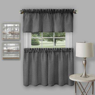 Richmond Black Polyester Tier and Valance Curtain Set - 58 in. W x 24 in. L