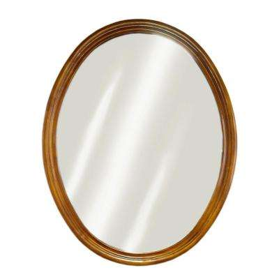 Semi-Circle 33 in. x 24 in. Framed Mirror in Oak
