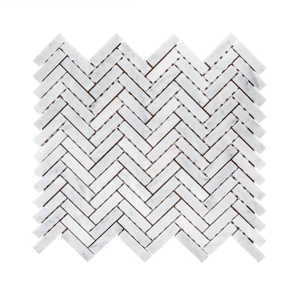 Jet Stream White Herringbone 10 in. x 11 in. x 8 mm Honed Marble Stone Mosaic Wall/Floor Tile