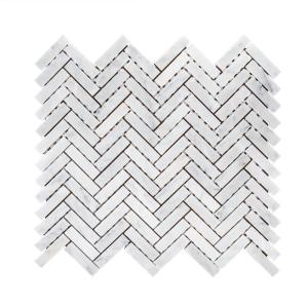 Jet Stream White  10.125 in. x 11.125 in. Herringbone Honed Marble Floor and Wall Mosaic Tile (0.782 sq. ft./Each)