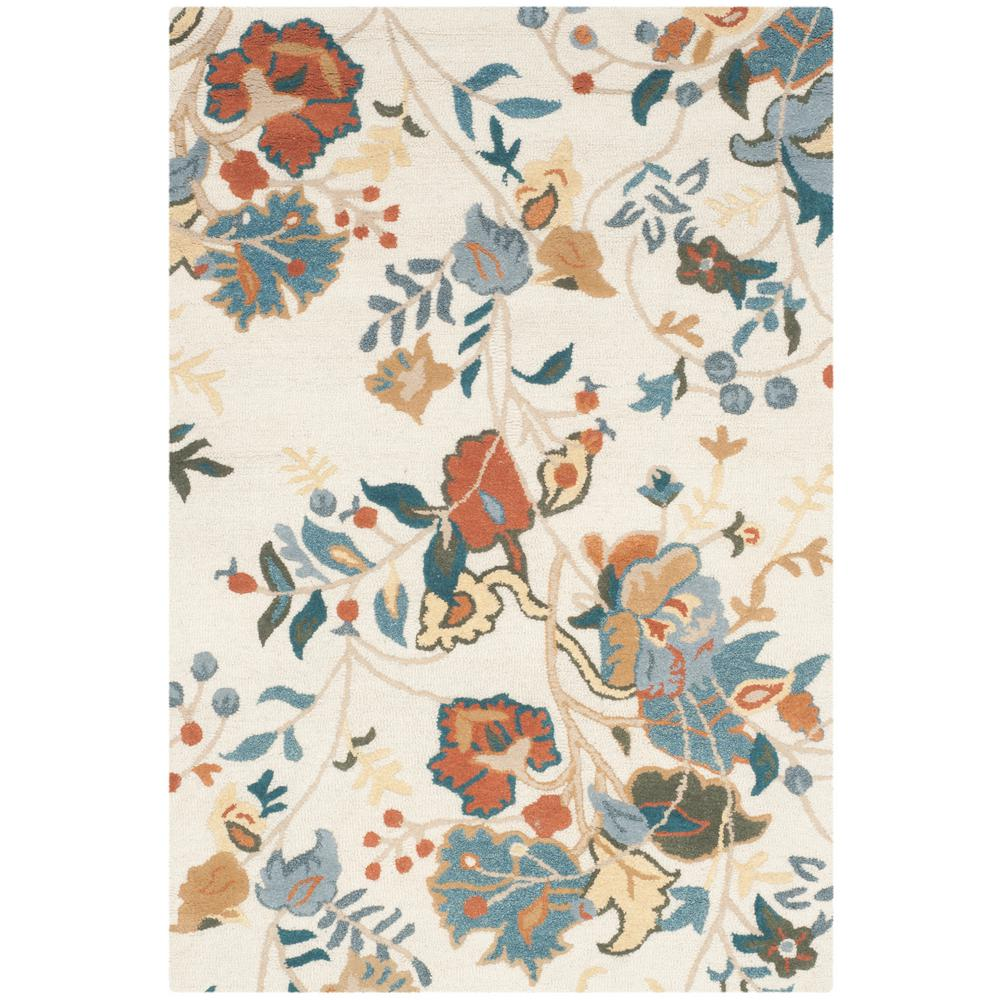 Blossom Red Blue Multi 4 ft. x 6 ft. Area Rug