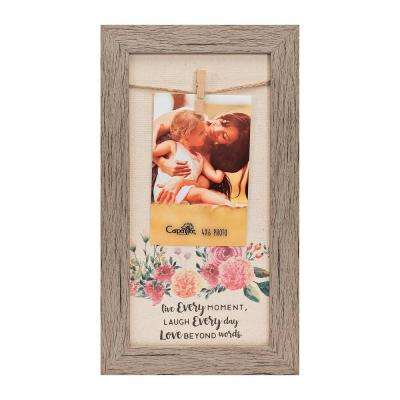 "Homespun Collection 4 in. x 6 in. Multi-Color Photos Barnwood Looking Frame ""Live Every Moment"" Hanging Photo Frame"