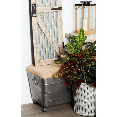 18 in. Gray Cushioned Storage Stool on Casters