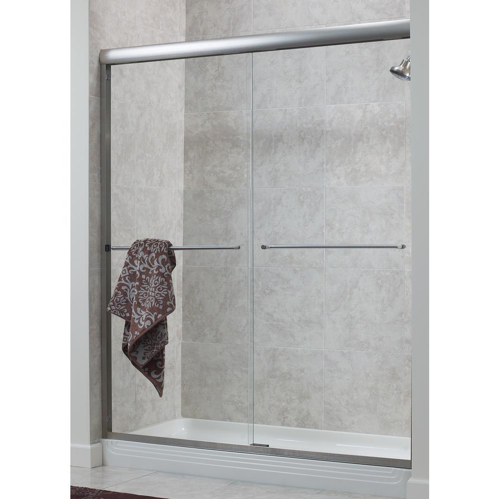 H Frameless Sliding Shower Door In Brushed Nickel With 1 4 Rain Gl