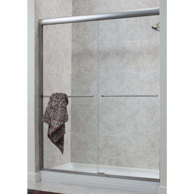 Cove 54 in. - 58 in. x 70 in. H Frameless Sliding Shower Door in Brushed Nickel with 1/4 in. Rain Glass