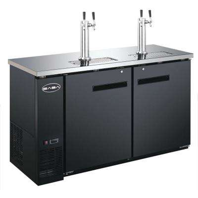 Two 1/2 Barrel Beer Keg Dispenser Refrigerator Cooler with 2 Double Tap Towers