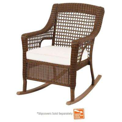 Spring Haven Brown Wicker Outdoor Patio Rocking Chair With Cushions