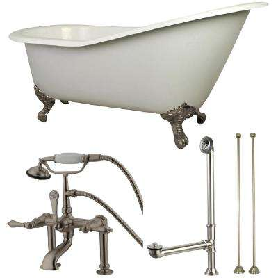 Slipper 5 ft. Cast Iron Clawfoot Bathtub in White with Faucet Combo in Satin Nickel