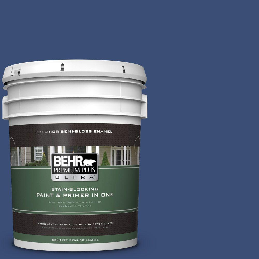 BEHR Premium Plus Ultra 5-gal. #600D-7 Daring Indigo Semi-Gloss Enamel Exterior Paint