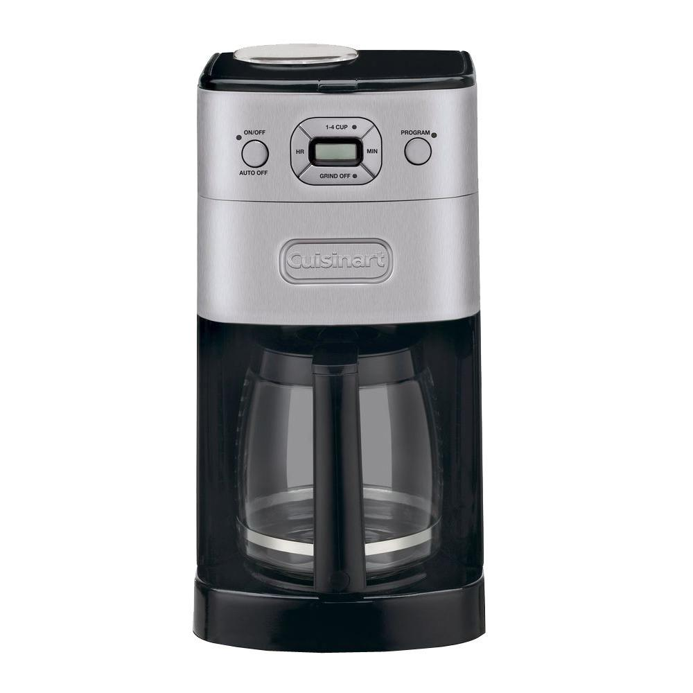 Cuisinart Grind and Brew 12-Cup Black Chrome Automatic Coffee Maker, Black/Brushed Chrome