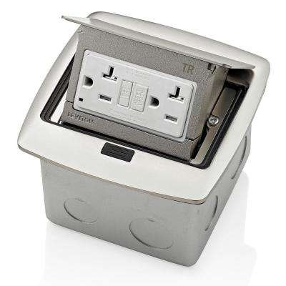 Pop-Up Floor Box with 20 Amp, Tamper-Resistant Self-Test GFCI Outlet, Brushed Nickel