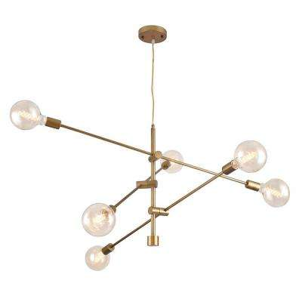 Rasmo Satin Gold 6-Light Chandelier