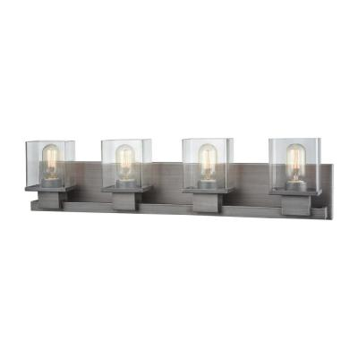 Hotelier 4-Light Weathered Zinc with Clear Glass Bath Light