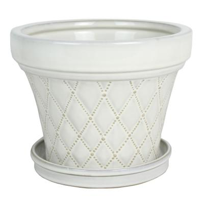 8 in. French Quilt Taper White Ceramic Planter