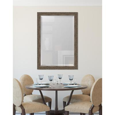 29 in. x 41 in. Champagne Silver Framed Rectangular Beveled Glass Mirror