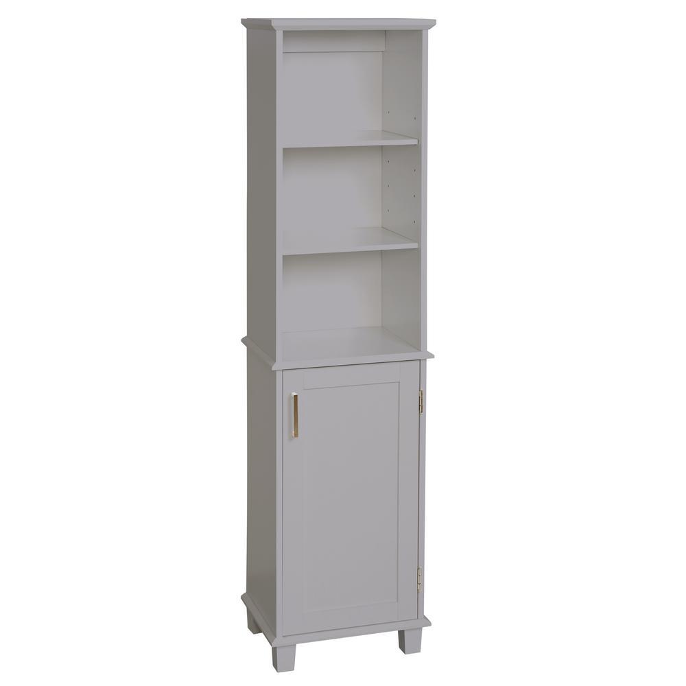 Shaker Style 16 in. W x 12 in. D x 62.25 in. H Linen Cabinet in Dove Gray
