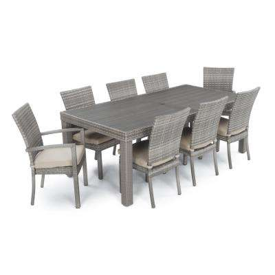 Cannes 9-Piece Patio Woven Dining Set with Slate Grey Cushions