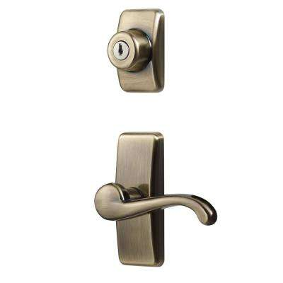 Deluxe Storm and Screen Door Lever Handle and Keyed Deadlock in Antique Brass